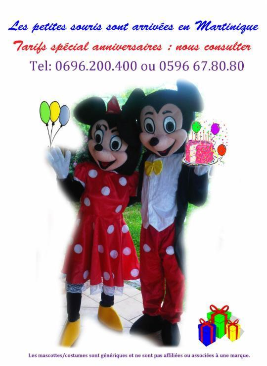 Costume de Mascottes Mikey (taille S) OU Minny ( taille S ou M )